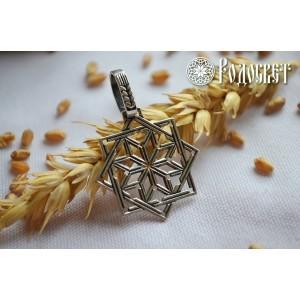 Кулон из серебра «Алатырь в Щите Сварога»